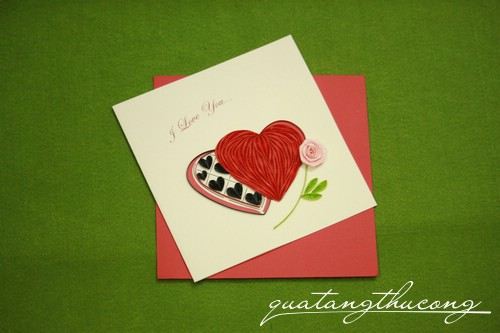 Thiệp quilling trái tim I love you