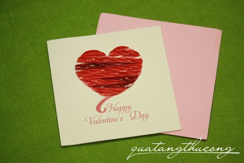 Thiệp quilling Happy valentine's day trái tim 2