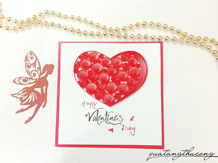 Thiệp quilling Happy valentine's day trái tim mẫu 3