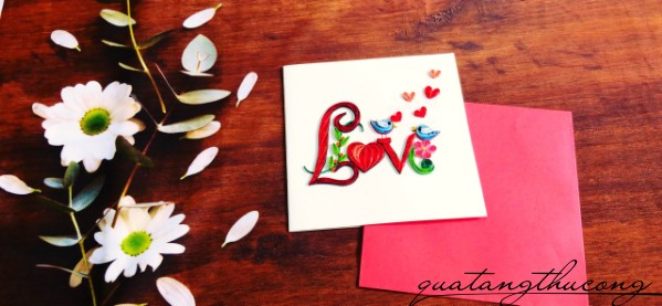 Thiệp quilling chữ Love