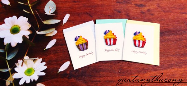 Thiệp quilling nhỏ HPBD Cupcake