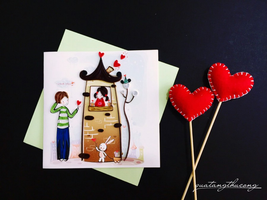 Thiệp quilling couple 1