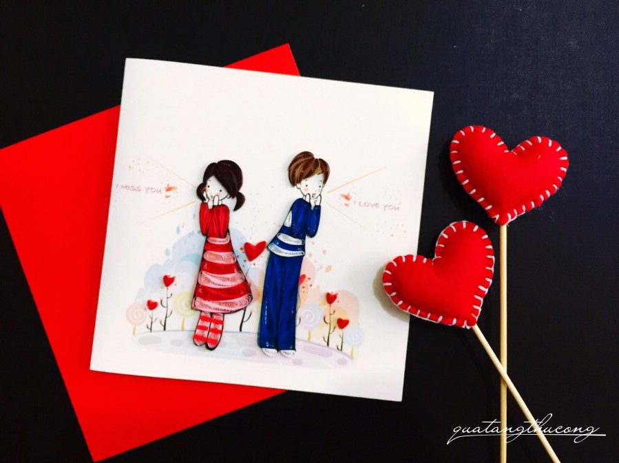 Thiệp quilling couple 2