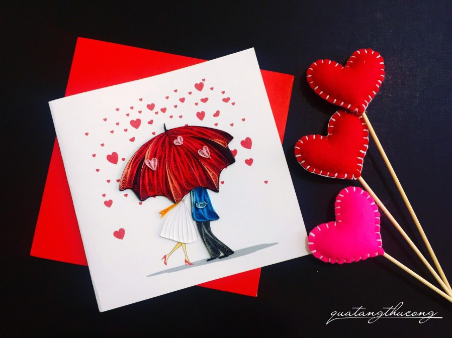 Thiệp quilling couple 3
